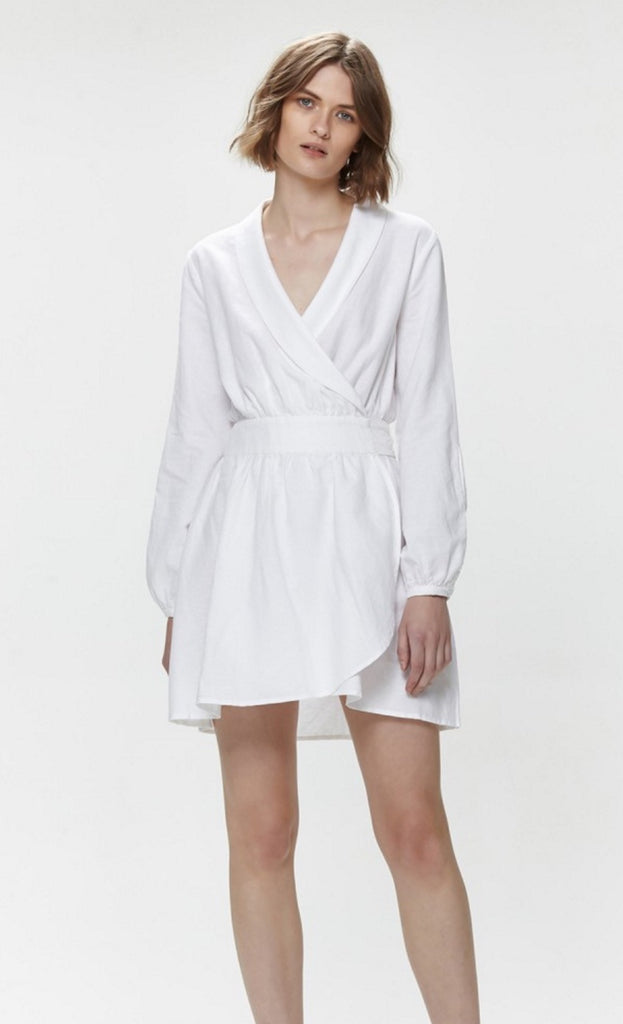 QUEENIE LINEN DRESS - WHITE