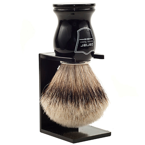 Parker Black Handle Silvertip Badger Shaving Brush and Stand