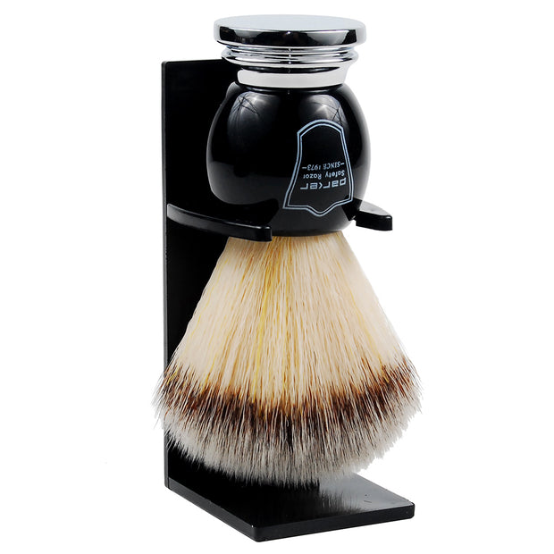 Parker Black and Chrome Handle Black Synthetic Shaving Brush