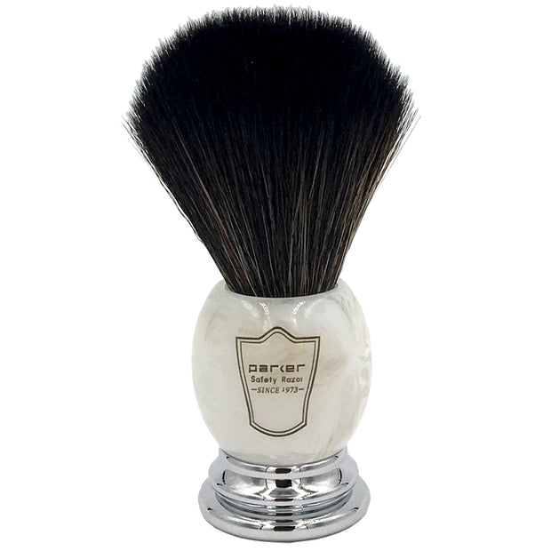 Parker Marbled Ivory Handle Black Synthetic Shaving Brush