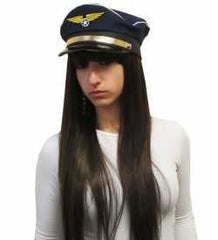 Captain Pilot Hat - Captain Pilot Hat In Dark Blue With Golden Emblem For Costume