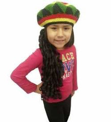 Rasta Hat with Dread lock Like Long Black Hair - Rasta Wig With Cap Costume Accessory