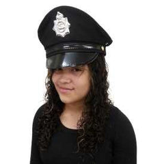 ... Police Hat - Cop Hat - Black Captain Hat - Officer Hat - Police Officer Costume  sc 1 st  Funny Party Hats & Costume Hats | Halloween Hats | Purim Hats | Photo Booth Hats ...