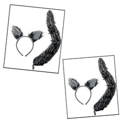 2 Sets of Wolf Ears & Tails - 2 Sets Of Faux Fur Grey Worf Ears Headbands And Tails For Costume