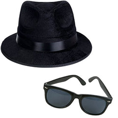 Black Fedora Gangster Hat and Wayfarer Black Sunglasses by Funny Party Hats
