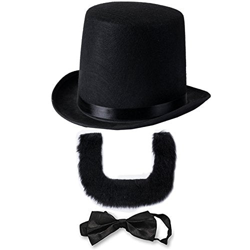 Abraham Lincoln Costume Set - Hat with Beard and Necktie by Funny Party Hats (3 PC Set)
