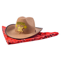 Funny Party Hats Sheriff Costume - Cowboy Hat With Cowboys accessories - Western Sheriff Set