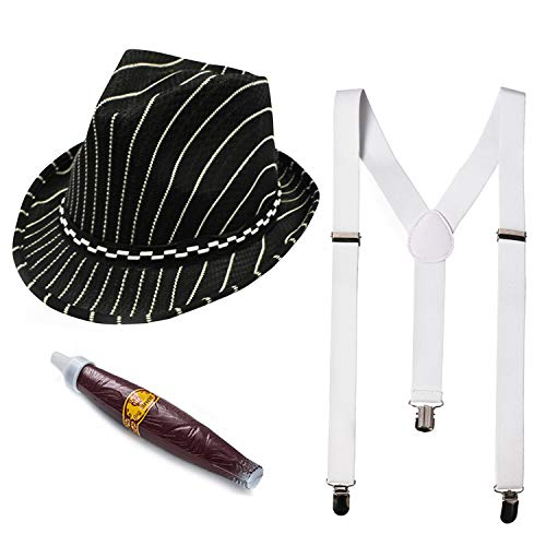Funny Party Hats 20s Gangster Costume - 3 Pc Set - Gangster Costume Hat, Suspenders & Cigar - Mobster Costume