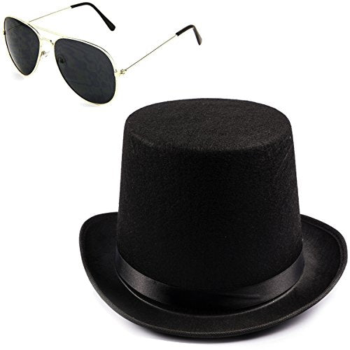 Black Guitar Player Costume Accessory Felt Top Hat-Aviator Sunglasses by Funny Party Hats