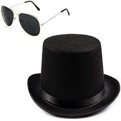 Funny Party Hats Guitar Player Costume Accessory Felt Top Hat-Aviator Sunglasses by