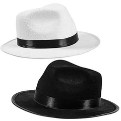 Black Fedora Gangster Hat Costume Accessory - Funny Party Hats (2 Pack - Black & White)