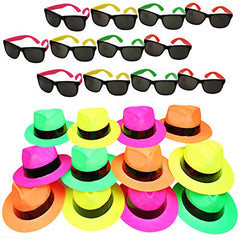 12 Neon Gangster Hats with 12 Neon Party Sunglasses