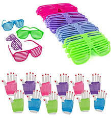 Dozen 80's Rock Star Fishnet Gloves With Neon Shutter Glasses