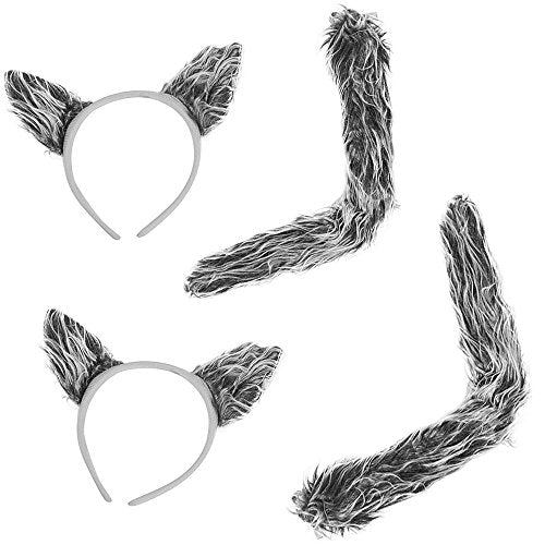 Funny Party Hats Wolf Costume Accessories - Halloween Costume Ears - Wolf Ears & Tail Set