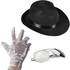 Set of 3 - Fedora Hat Sequin Glove And Sunglasses by Funny Party Hats