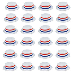 Funny Party Hats Skimmer Hat - 24 Pack - Boater Hats - Patriotic Party Supplies - American Flag Hats