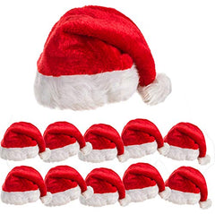 10 Pack of Plush Santa Hats