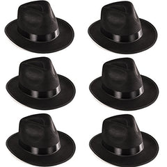 Black Fedora Gangster Hat Costume Accessory - Pack of 6
