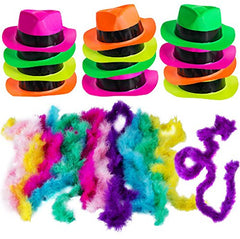 Neon Party Supplies - 80's Style, Neon Gangster Hats, Fedora Party Hats W/Neon Mini Boas - Party Dress Up by Funny Party Hats