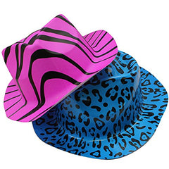 Neon Party Hats - 24 Pack - Plastic Gangster Hats - 80s Party Hats - Animal Print Party Hats by Funny Party Hats