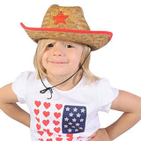 Funny Party Hats Cowboy Party Hats - Dozen Hats - Straw Hats for Kids - Cowboy Hats Bulk - Cowboy Party Favors