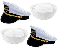 Adult Captain's Yacht Hat and White Cotton Sailor Hat-Funny Party Hats