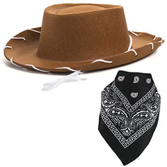 Cowboy Hat - Western Hat with Paisley Bandanna - Dress Up Clothes for Kids by Funny Party Hats