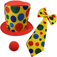Funny Party Hats Clown Costume - Clown Hat, Jumbo Tie & Clown Nose - Clown Accessories