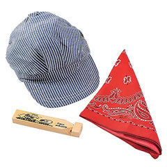 Funny Party Hats Little Engineer Set - Professional Hat, Red Bandana And Wooden Train Whistle