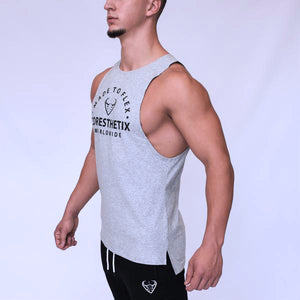 CORE-FIT™ Cut Off Fishtail Tee – GRAY