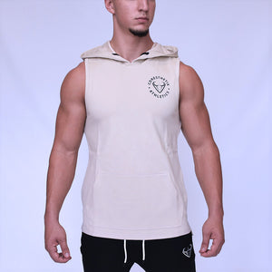 CORE-FIT™ Fishtail Sleeveless Pullover Hoodie - SAND