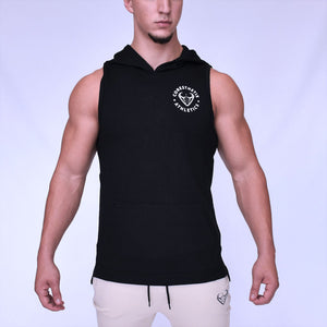 CORE-FIT™ Fishtail Sleeveless Pullover Hoodie - JET
