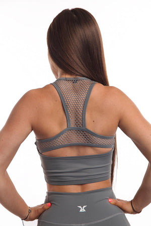 CORE-FIT™ V2 Mesh Back Sports Crop Top - Stone Gray