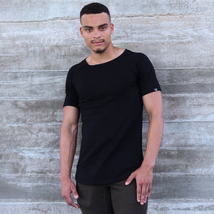 CORE-FIT™ Scoop Neck - Curved Hem - BLACK