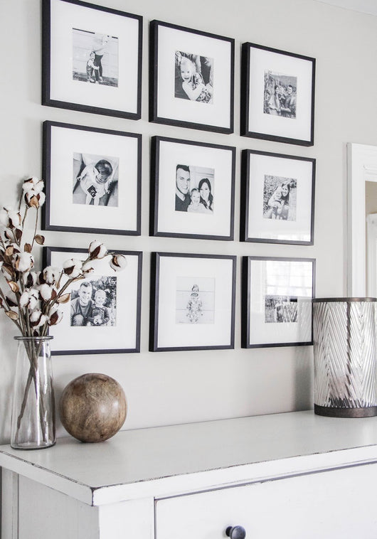 Framed Gallery Walls Symmetrical Square -9 frames Small