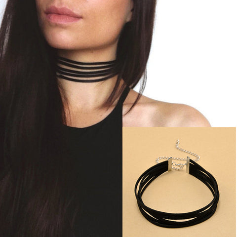 90's Black Velvet Choker Necklace 5 layers Goth Gothic Handmade Ribbon Collar Necklaces Retro - Selective Girl