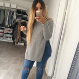 Fashion Lady Knitwear Women Casual Sweater Autumn Winter Knitted Loose Split Pullover Sweater