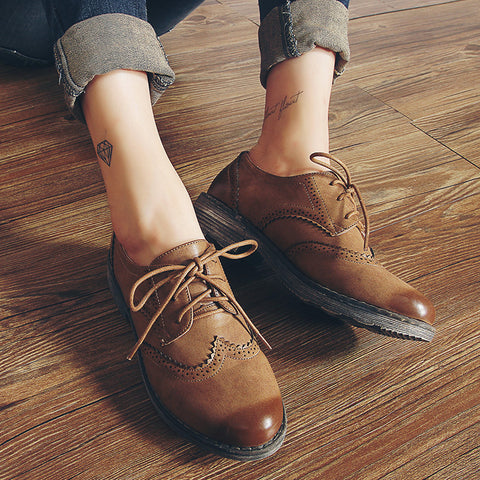 FLAT Oxford Shoes Woman Autumn Flats Fashion Brogue Oxford Women Shoes - Selective Girl