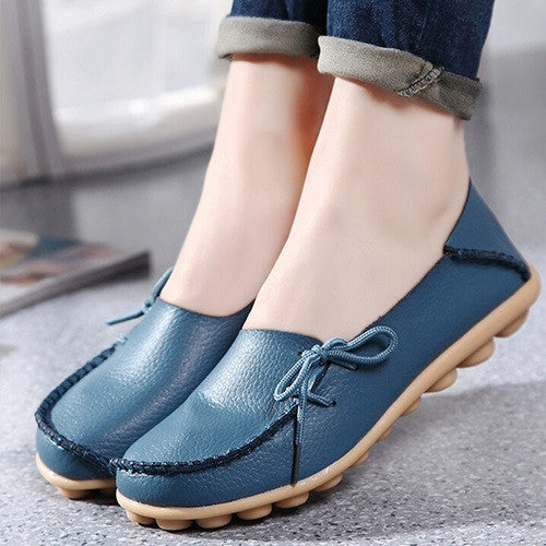 Genuine Leather Women shoes Mother shoes Girls lace-up fashion casual shoes Comfortable Breathable Women flats - Selective Girl