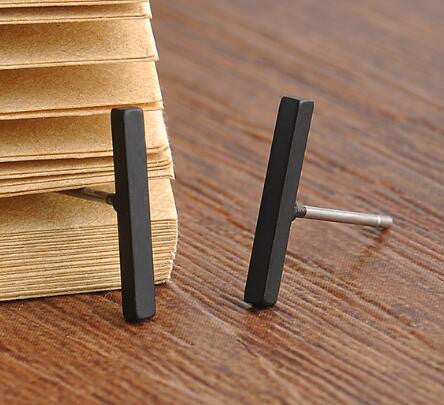 Punk Black Gold Silver Earrings Simple T Bar Earring Women Girl Ear Stud Earrings Fine Jewelry Femme - Selective Girl