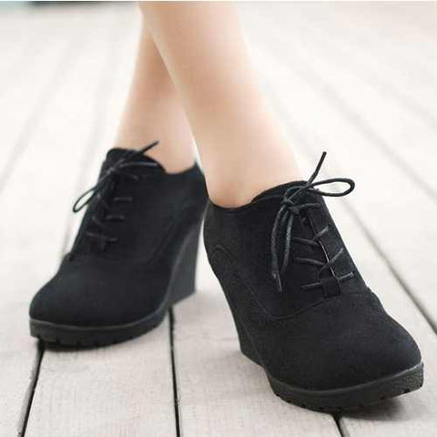 High Heel Wedges Shoes Platform Pumps Women Lace up Casual Shoes Sexy Women Shoes - Selective Girl