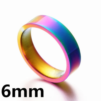 Unisex Rainbow Colorful Ring Titanium Steel Wedding Band Ring Width 2mm 4mm 6mm 8mm Size 5-13