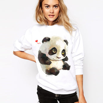 Panda Hoodie Fashion Casual Sweatshirt Women Hoodies Animal Print Long Sleeve Pullover Tracksuit O-neck Moletom White Hoody