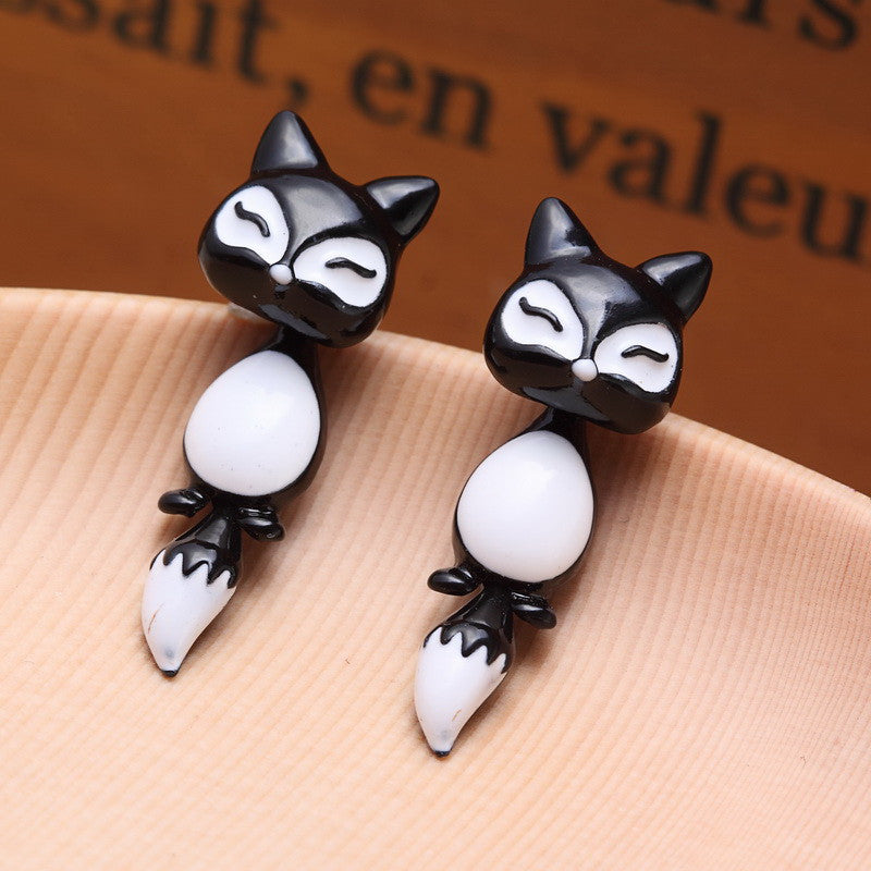 Kittenup New Fashion Yellow Purple Black Animal Cute Fox Stud Earrings For Women Jewelry Gifts - Selective Girl