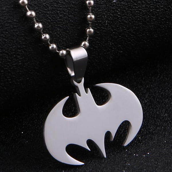 Fashion Silver chain Unisex Necklaces Jewelry Slippy Bat Batman Sign Pendant Stainless Steel Pendant with Chain Necklace - Selective Girl