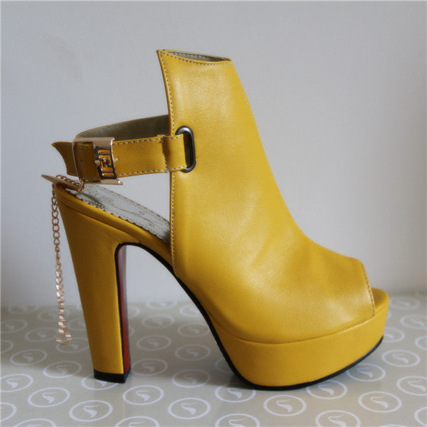 Hot Shoes Women High Heels Pumps Spring Peep Toe Gladiator Shoes Female Chains Sequined High Heels Platform Shoes Yellow - Selective Girl