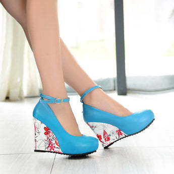 Stylish Ankle Strap High Wedges Platform Pumps For Women Casual Elegant Flower Print Wedges Platform Shoes