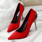Sexy Pumps Red Bottom High Heels Suede Leather High Heel Ladies Wedding Shoes Stiletto Heels shoes - Selective Girl
