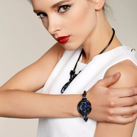 Hot Viennois Vintage Gun Plated Bracelets for Woman with Crystals from Swarovski Paved Round Bracelet & Bangles Fine Jewelry