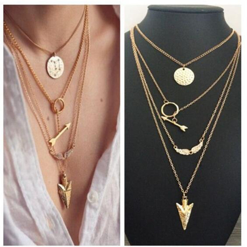 Ethnic Coins Necklace Women Leaves Triangle Bar Round Chokers Statement Necklace multilayer Vintage Jewelry - Selective Girl